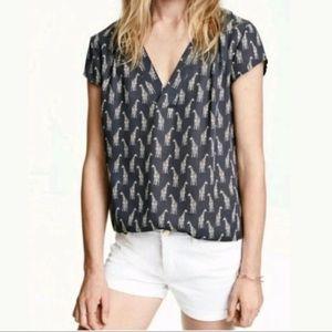 H&M Giraffe Shirt Charcoal Gray Size 2